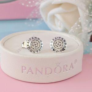 Pandora Signature Earrings Clear CZ